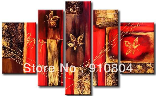 Framed 5 Panels Huge Wall Art Red Oil Painting Canvas Abstract Home Decor L0248 - 99$ store