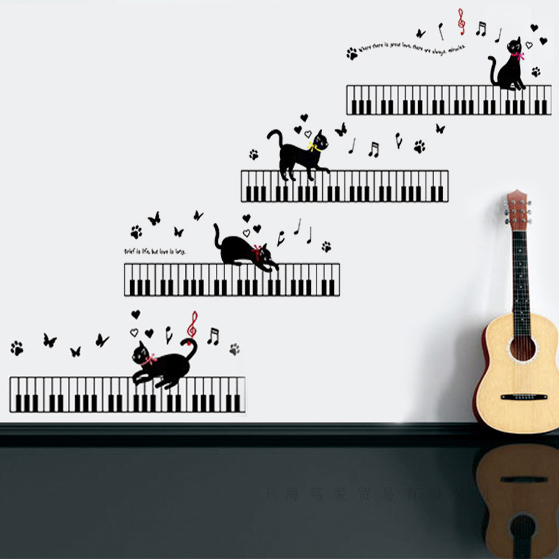 Cat that will play the piano Wall Sticker Vinyl Waterproof DIY Music cat Decals For Kids room Arts Decor Murals