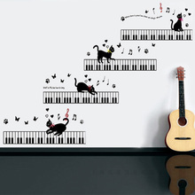 hot deal buy cat that will play the piano wall sticker vinyl waterproof diy music cat wall decals for kids room music room arts decor murals