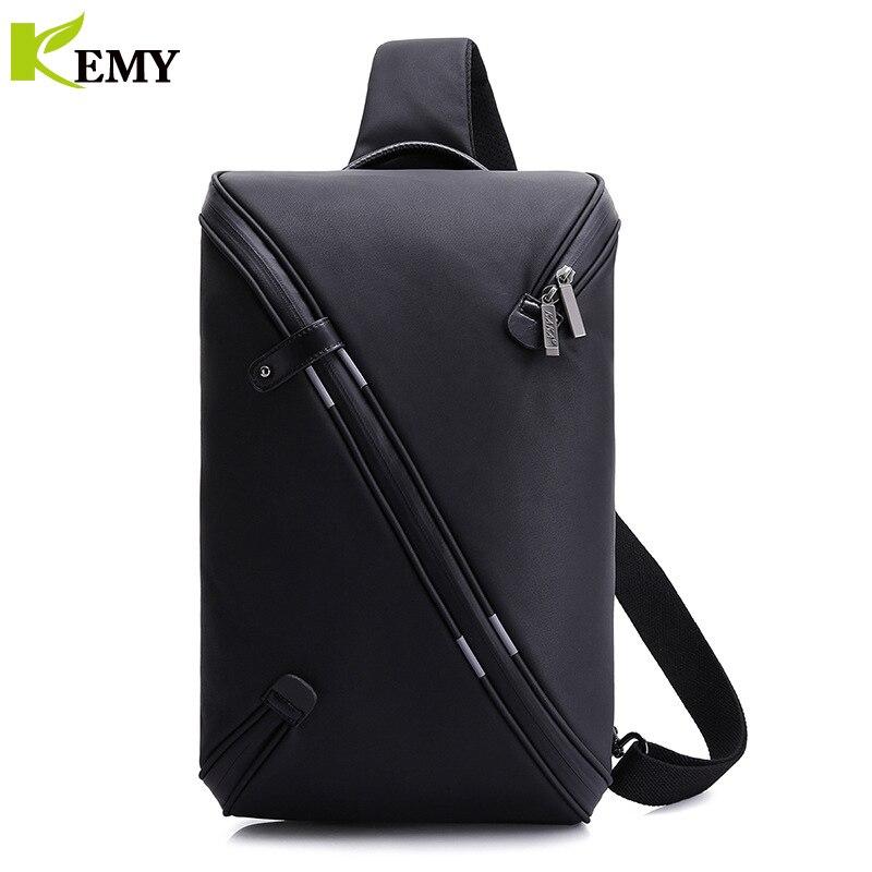 KEMY 2018 Summer Fashion Male Bag Casual Splashproof Sling Bag USB Crossbody Bags for ipad Messager Black Grey Men Shoulder Bag