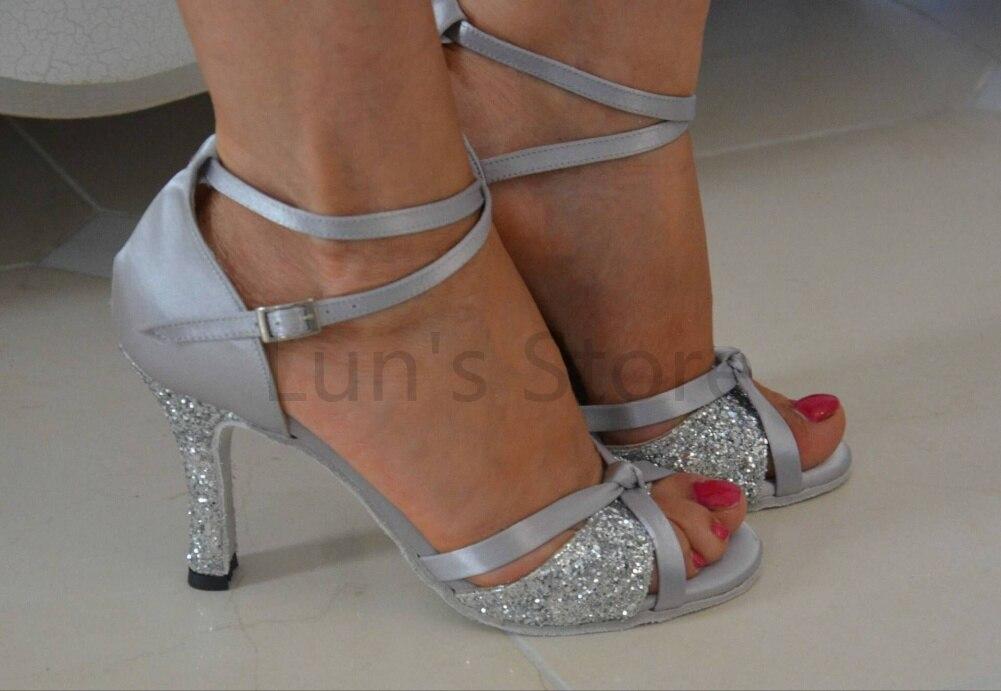Nye damer sølv satin og sølv glitter latin salsa dansesko tango - Kondisko - Foto 1