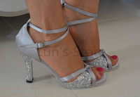 New Ladies Silver Satin and Silver Glitter Latin Salsa Dance Shoes Tango Bachata Dance Dancing Ballroom Shoes ALL SIZE