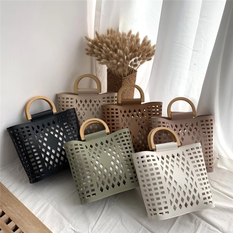 Women Bags Handbags 2019 Famous Brands Hollow Out Beach Bag Bolsa Feminina Wood handle tote bags PU leather shoulder bag Purses