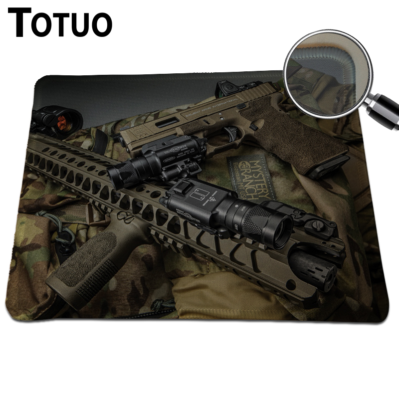 Top Fashion Pistols DIY Design Gaming Mouse Pad Locking Edge Black Rubber Mouse Mat Computer Speed Mousepad 250x210mm