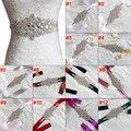 Nueva Moda Piedras Apliques Cinta Sash Vestido De Noche de Boda Cinturón Hecho A Mano con Cinta de Longitud