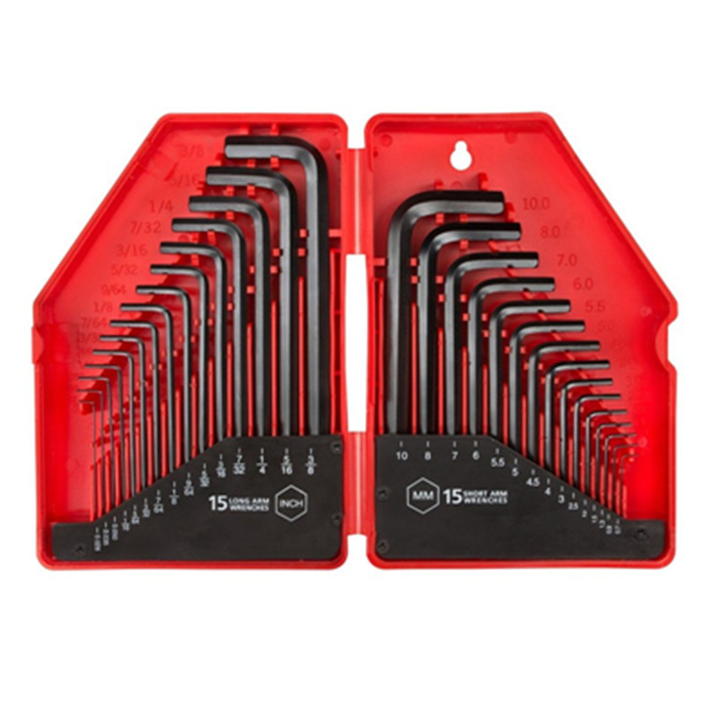 30pcs//set Inch//Metric Hexagon Socket Key Set Wrench Industrial Grade Tool