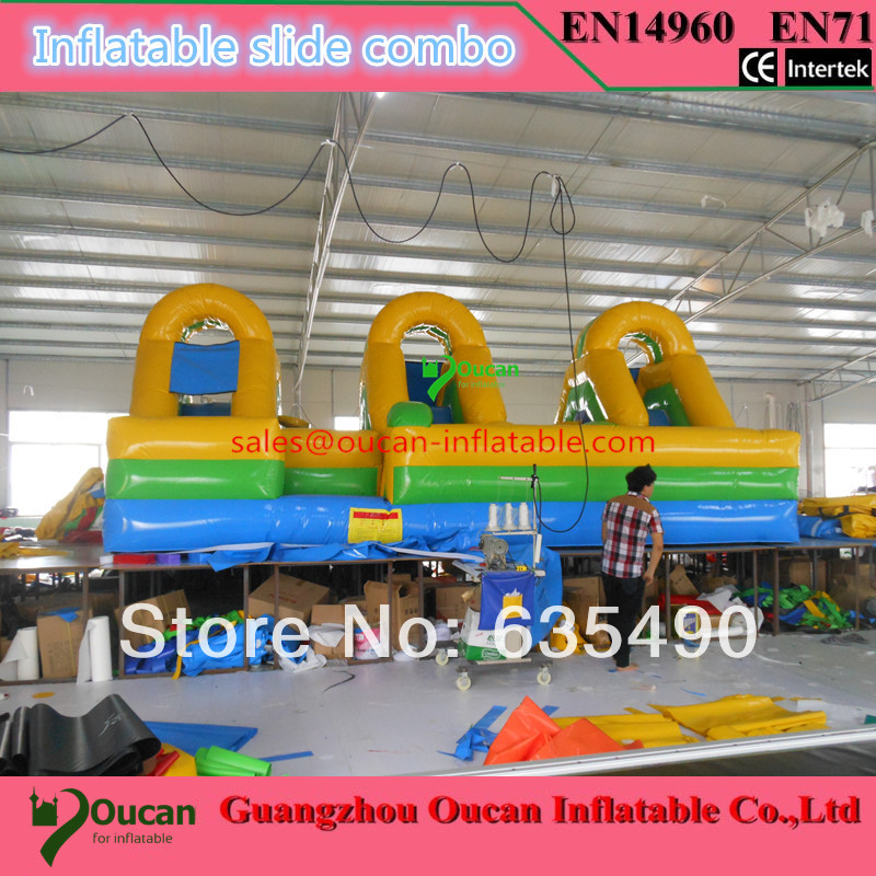 7x5x3.5 m PVC tarpaulin inflatable slide combo/small castle/trampoline for kids, inflatable castle with slide commercial sea inflatable blue water slide with pool and arch for kids