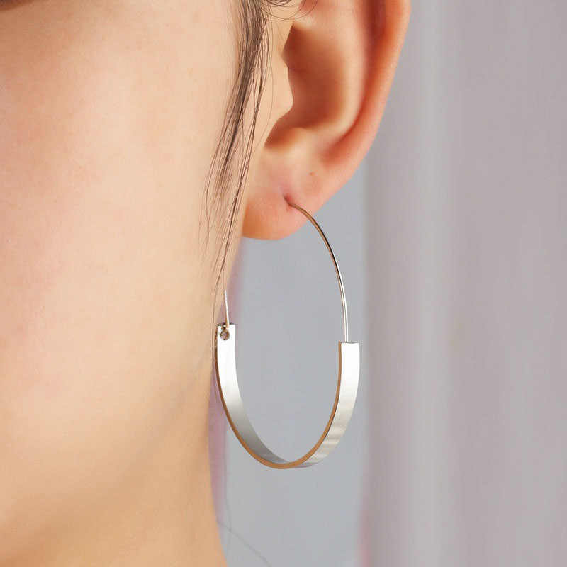 Gold Silver Color Big Hoop Earrings For Women Hollow Large Round Circle Loop Eardrop Statement Jewelry Geometric Ear Accessories