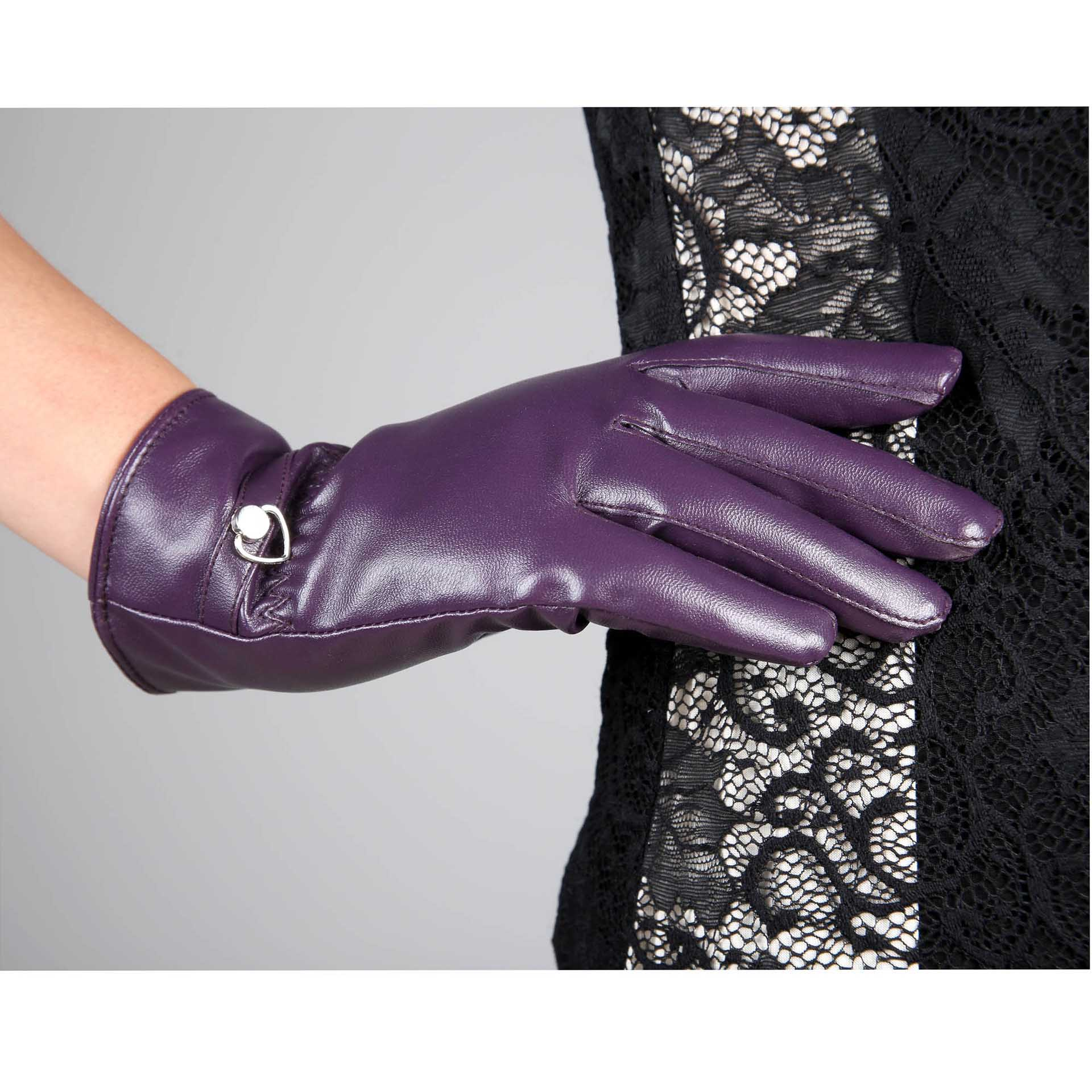 Motorcycle gloves metal - Women S Autumn And Winter Warm Thermal Heart Pu Leather Casual Motorcycle Gloves Heart Metal Mittens Purple