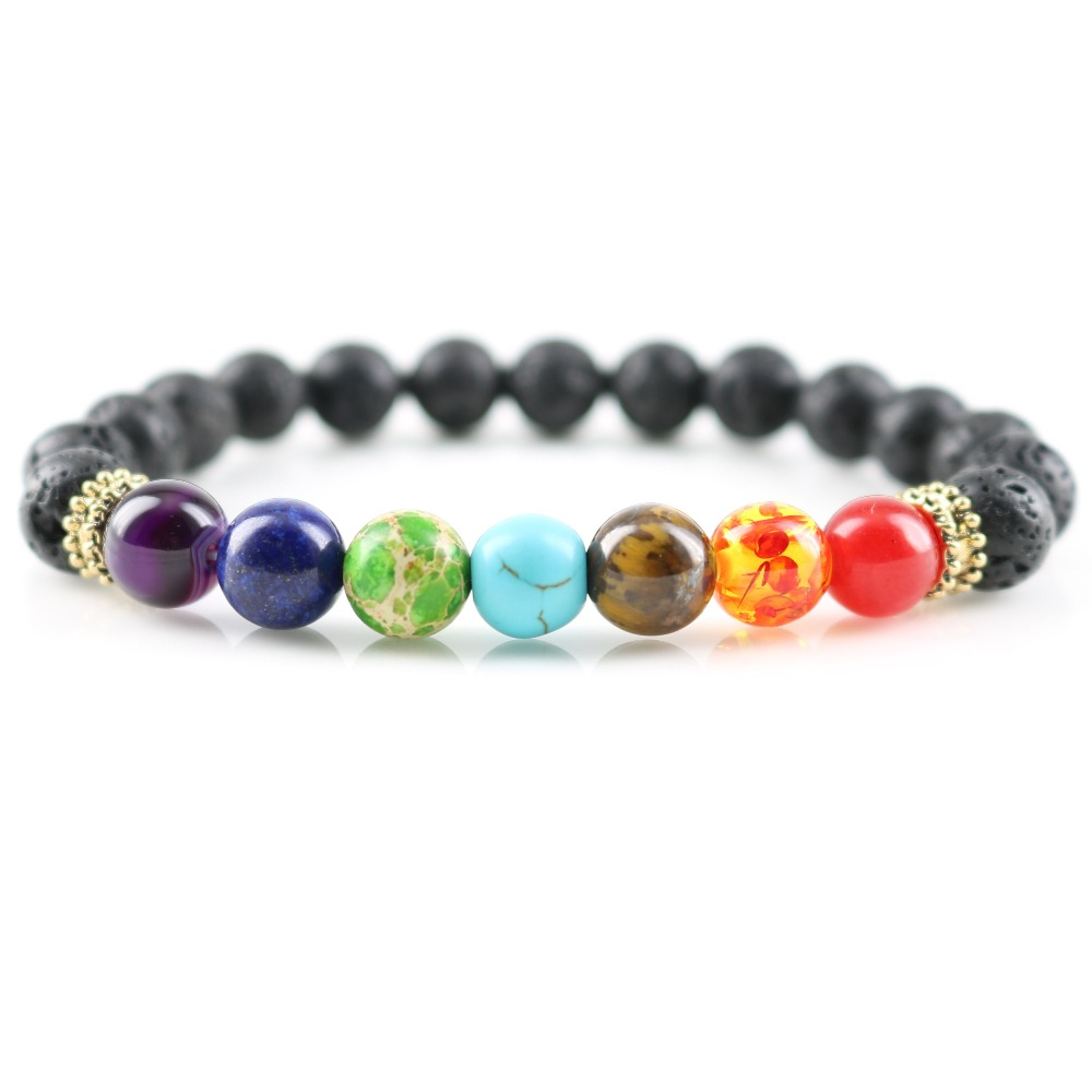 Men Lava Rock Tiger Eyes Blue Rock Stone 7 Chakra Healing Energy Beaded Bracelet Yoga Jewelry Spiritual Bracelet For Women