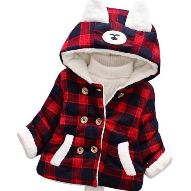 2018 Winter Girls Cotton Jacket New Cute Cartoon Rabbit Earmuffs Lead Hooded Plus Velvet Thickening Children's Jacket