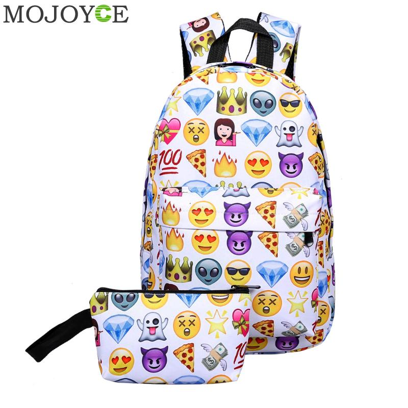 Funny Emoji Backpack 3D Cute Smile Printing Backpack Waterproof Canvas Backpacks For Teenage Girls Kids Travel School Bag 2019