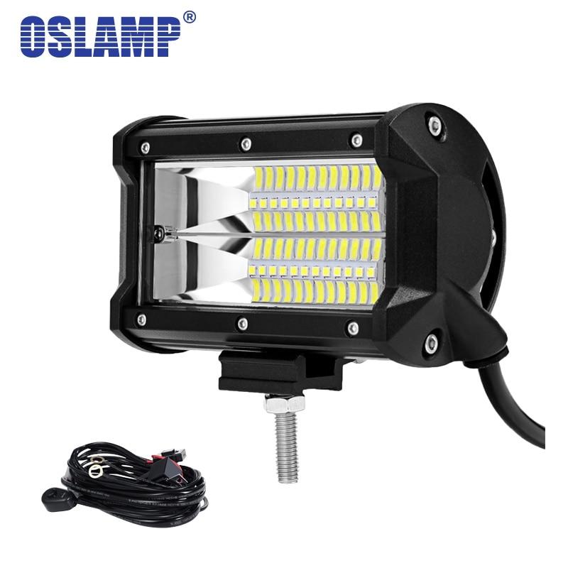 Oslamp 5 72W LED Work Light Car Flood Beam LED Light Bar Led Bar for 4x4 Truck ATV Trailer Car Offroad Driving Light 12V 24V феникс мешок для обуви леопард в цветах