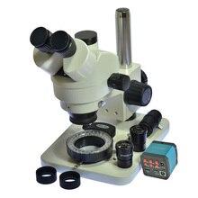 7X-45X Trinoküler Mikroskop Muayene Zoom Stereo Mikroskop 14MP HDMI USB Kalibre Kamera + 56 LED Halka Işık + C adaptörü