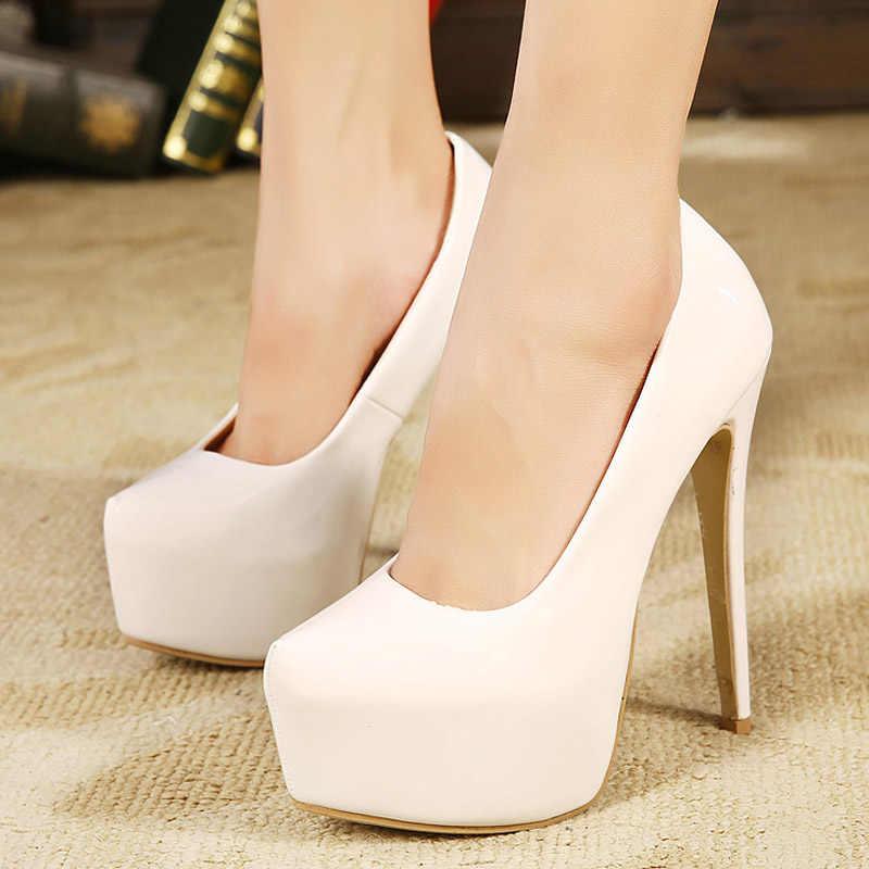 Schoenen Vrouw Hoge hak Plus Size Wees teen Pomp Super hak dikke hakken schoenen sandalen loafers Wit zwart rood abrikoos roze
