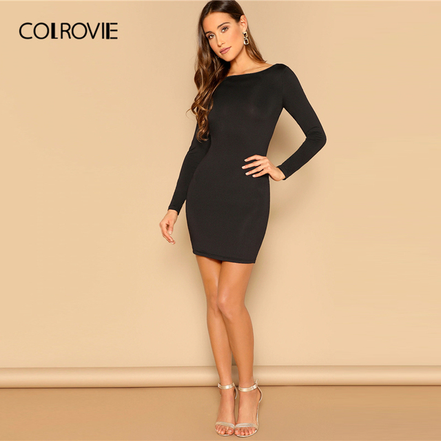 COLROVIE Black Draped Back Bodycon Dress Women 2019 Sexy Backless Summer Party Female Spring Long Sleeve Slim Short Dresses 3