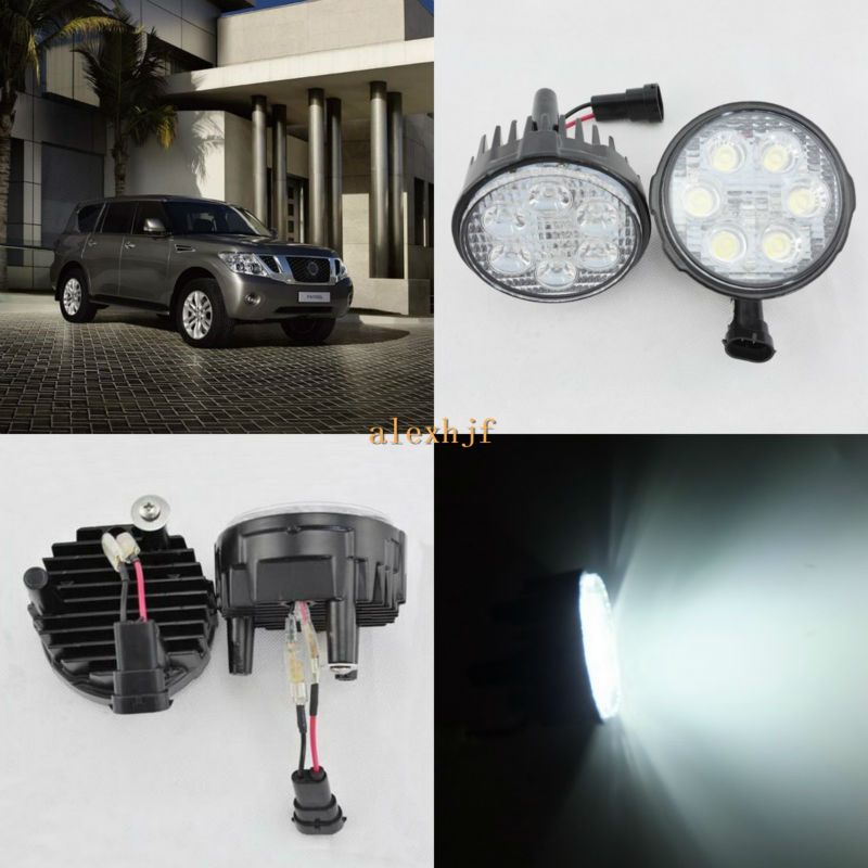 July King 18W 6LEDs H11 LED Fog Lamp Assembly Case for Nissan Patrol 2011~ON, 6500K 1260LM LED Daytime Running Lights july king 18w 6leds h11 led fog lamp assembly case for nissan x trail 2014 on rouge 2008 2011 2014 on 6500k 1260lm led drl