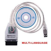 أداة تشخيص تلقائية لرقاقة MPPS V13.02 V13 K ، مبرمج وحدة التحكم الإلكترونية ، 16 سنًا إلى USB ، MPPS V13 ، OBD2 ، 2019