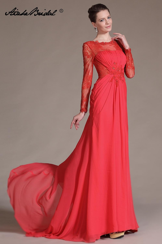 Robe élégante à manches longues mère De la mariée Vestido De Madrinha Mutter Der Braut Party femmes robe De soirée en dentelle
