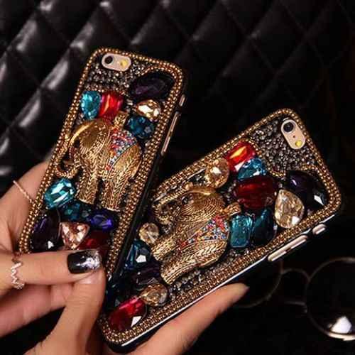 ... LYBALL Fashion Women Lady Crystal Elephant Phone Case 100% Handmade  Finished Hard Back Cover Skin ... 521fe02aa1