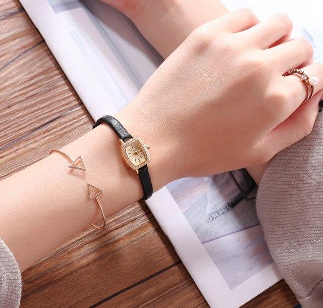 ญี่ปุ่นแท้หนังสี่เหลี่ยมผืนผ้า Dial Lady นาฬิกากันน้ำ Zircon Stonefashion นาฬิกาสำหรับสตรี-ใน นาฬิกาข้อมือสตรี จาก นาฬิกาข้อมือ บน