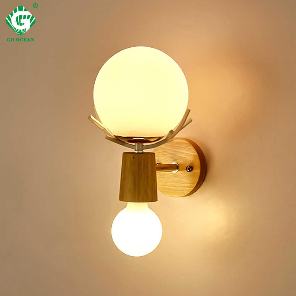 Creative Led Wall Light Sconces E27 Bulb Wood Retro Lamps Hotel Home Living Room Bedroom Bedside Indoor Lighting Fixture