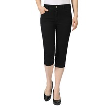 Woman Summer Cropped Jeans Pants Women Black Denim Crop Trousers Slim Fit Calf Length Zipper Fly Design Jean Pant Plain Colour недорого
