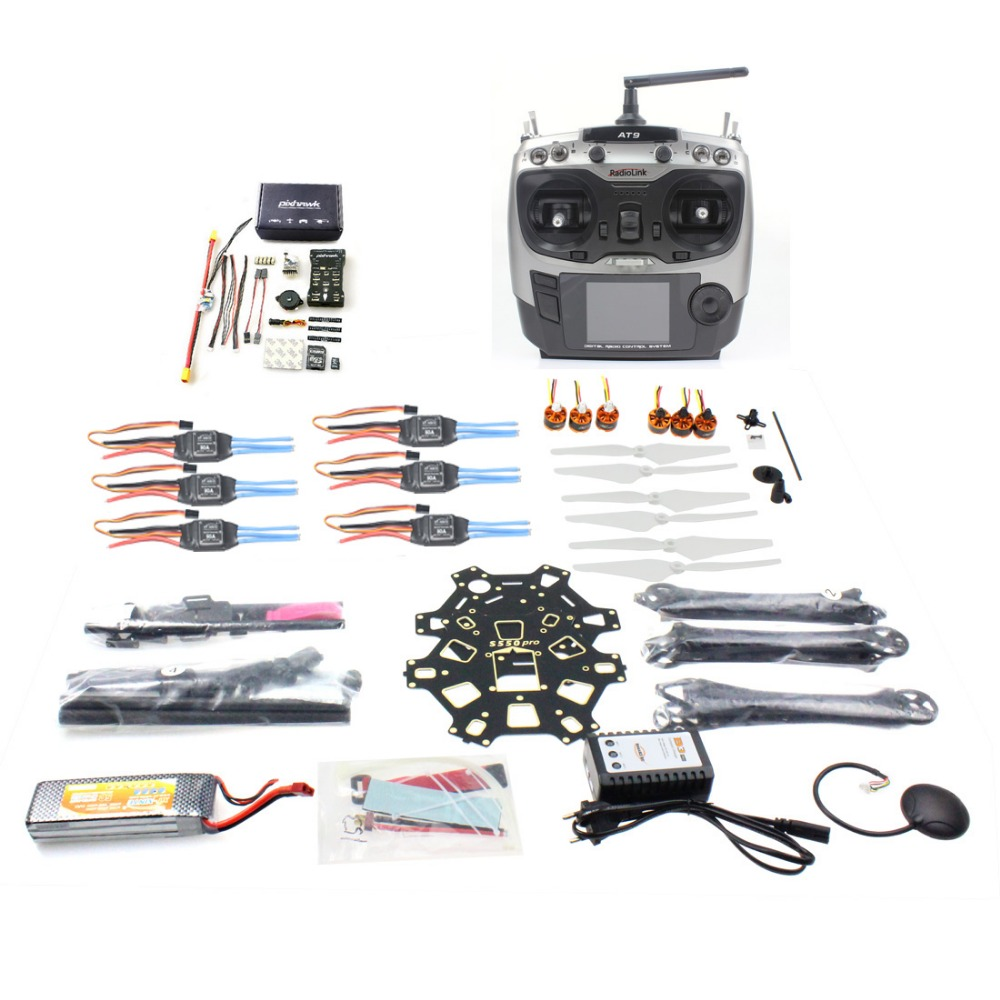 F08618-T DIY FPV Drone Hexacopter 6-axle Aircraft Kit HMF S550 Frame PXI PX4 Flight Control 920KV Motor GPS AT9 Transmitter