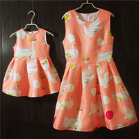 Brand Spring Family matching clothes large plus size kids girls and mom dress infant sundress mother daughter sleeveless dresse