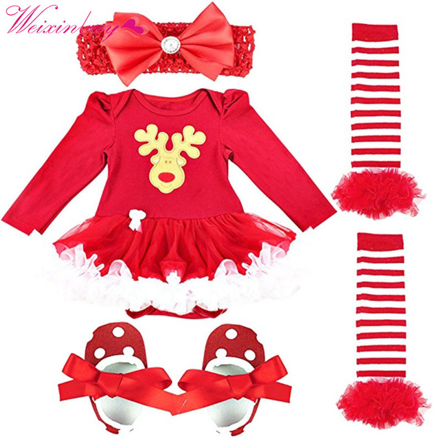 3pcsset autumn winter baby girl rompers christmas clothes girl clothes hairband shoes