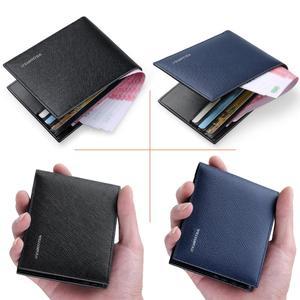 Image 5 - WilliamPOLO portefeuilles de marque de luxe pour hommes, 100% en cuir de vache court, à deux volets, Mini cuir véritable, porte cartes, fentes, petit format portable