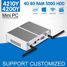 Fanless Mini Computer Windows 10 Linux Computadora Intel Core i5 4200Y 4210Y Mini PC Office Computer Desktop HTPC Media Player
