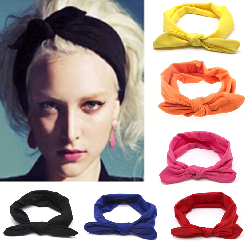 1Pcs Fashion Bowknot Hårband Bandband Elastisk Stretch Kanin Twisted Knotted Turban Frisör Tillbehör Styling Tools