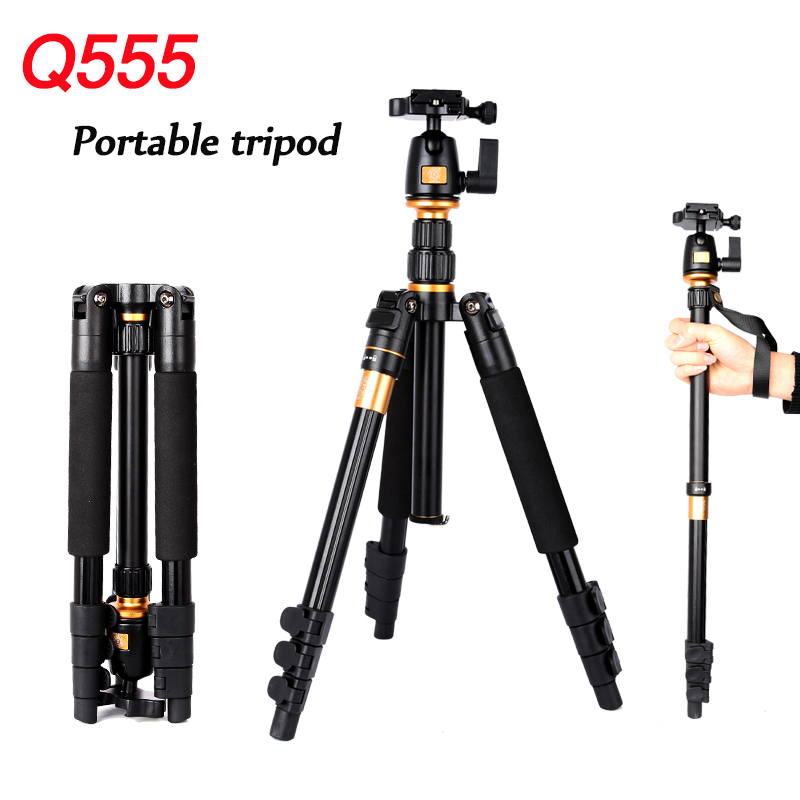 ФОТО QINGZHUANGSHIDAI Q555 Travel Aluminum Tripod Portable Digital Camera SLR Monopod Ball Head Professional Max. Load 8kg