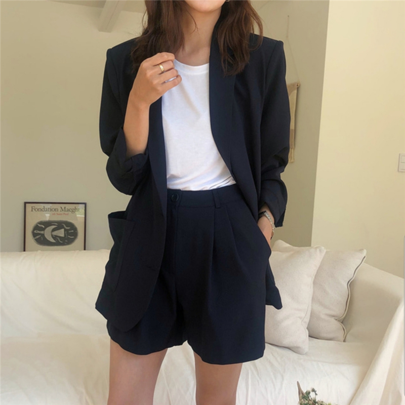 HziriP 2019 New OL Elegant Office Lady Shorts Suit 2 Piece Set Women Single-breasted Jacket Blazer + High Waist Mini Pants Suits