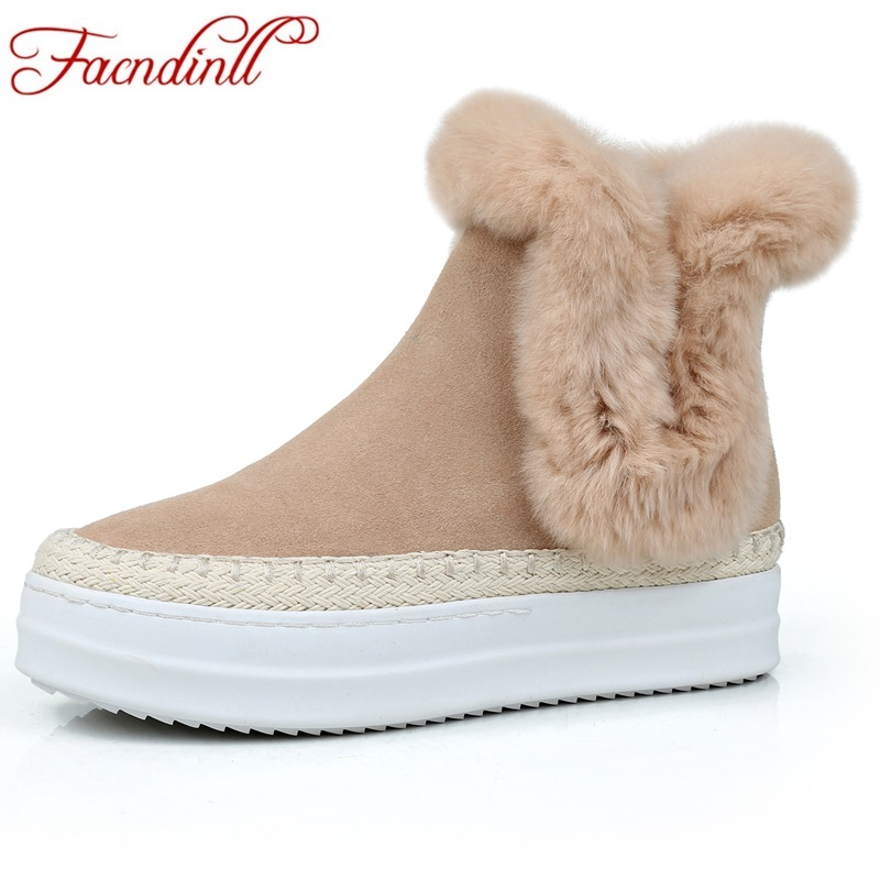 FACNDINLL genuine leather women ankle boots new fashion black apricot 2017 winter shoes woman warm short boots platform shoes hogl