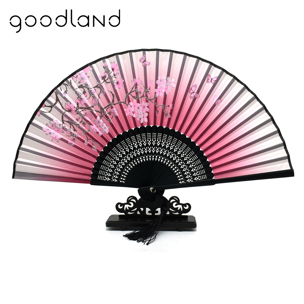Free Shipping 30pcs Real Bamboo Silk Hand Fan Blossom Flower Print ...