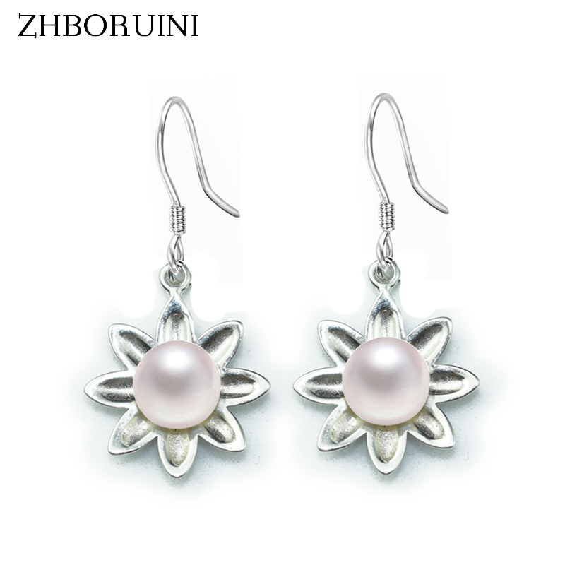 ZHBORUINI 2019 Pearl Earrings 8-9mm Flower natural Pearl Earring 925 sterling Silver Jewelry For Women Fashion Accessories Gift
