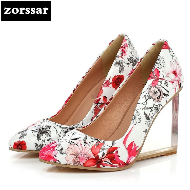 {Zorssar} 2018 New fashion Flowers Genuine Leather womens pumps shoes pointed toe Wedges High heels ladies Office Career shoes size 33 43 new 2017 genuine leather womens shoes wedges pointed toe high heels women office & career shoes woman single shoes