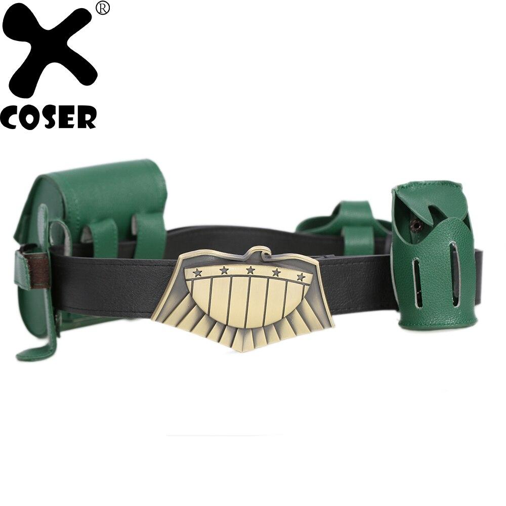 XCOSER Brand New Sale Judge Dredd Belt Movie Dredd Cosplay Accessories Brown Belt with Green Pouches Costume Props for Men