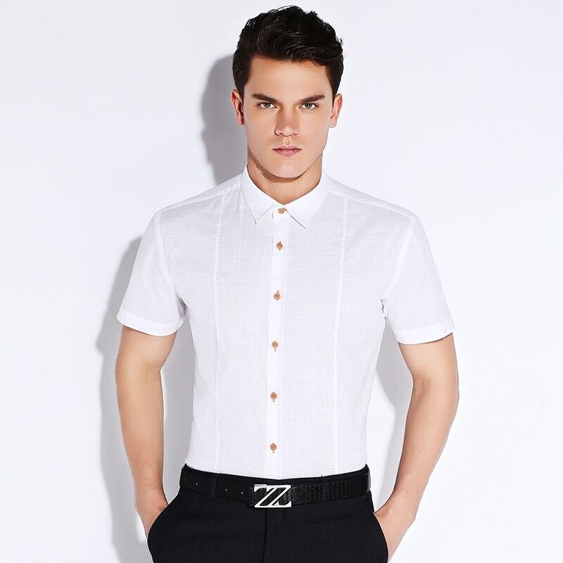 Fashion Men White Dress Shirt Short