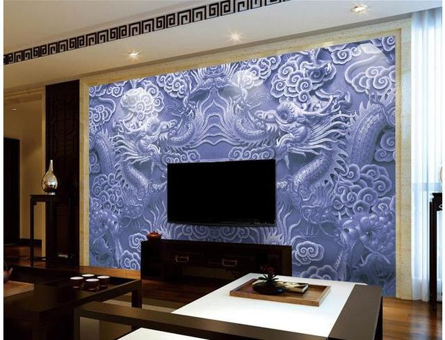 3d wallpaper Embossed dragon beads background wall murals custom 3d