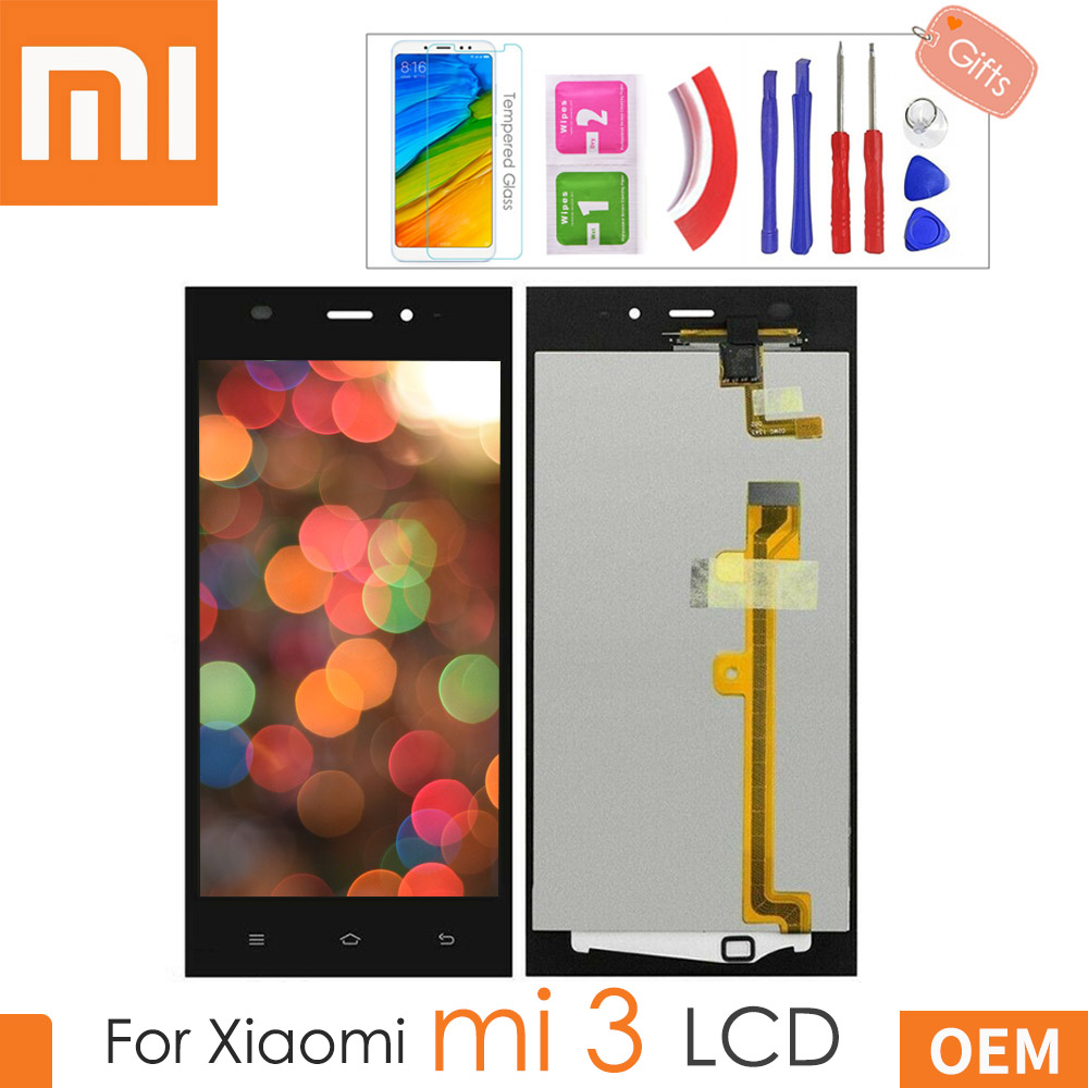 5.0'' Original Black LCD For XIAOMI Mi3 Display Touch Screen for Xiaomi Mi 3 LCD Display Replacement with Gifts