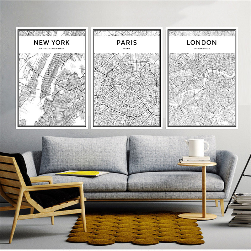Hot Sale Map Famous City Nordic Canvas Painting Home Decor Wall Art ...