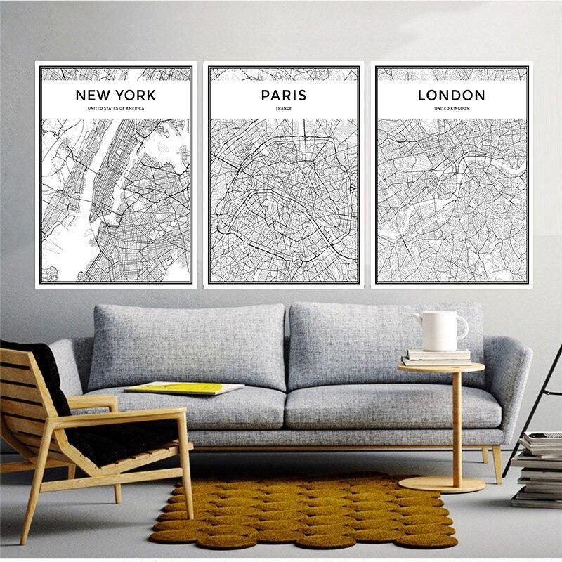 Map Famous City Nordic Canvas Painting Home Decor Wall Art Landon Paris Milan Black Living Room Office Hotel Poster Backdrop DIY