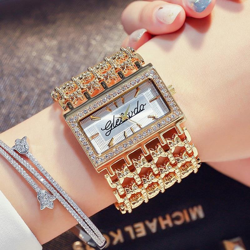 G&D Luxury Brand Women's Watches Gold Quartz Wristwatches Rhinestone Ladies Bracelet Dress Watch Relojes Mujer Relogio Feminino