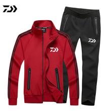Men High Quality Cotton DAIWA Fishing Suits Plus Size Men Sports Suits Men DAWA Fishing Jackets And Pants Tracksuits Outdoor Set