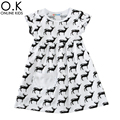 Baby Girls Dress Summer 2017 Fashion Reindeer Kids Dresses For Children Clothes Cartoon Animal Deer Toddler Girl Dress Costumes