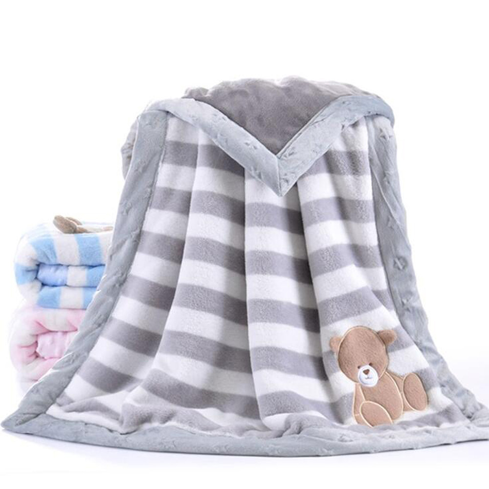 Winter Baby Blankets Newborns Thicken Flannel Swaddle Baby Blanket Warm Baby Swaddle Wrap Soft Newborn Blanket Embroidered Bear
