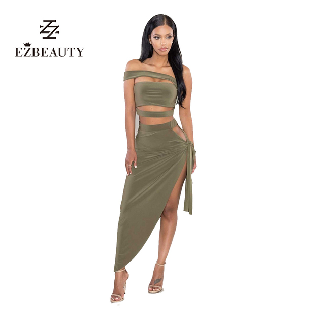 Autumn Women Two  Piece Set Off Shoulder Strappy Crop Top and Maxi Skirt Backless Club Wear Sexy Woman Open Side Skirt Sets